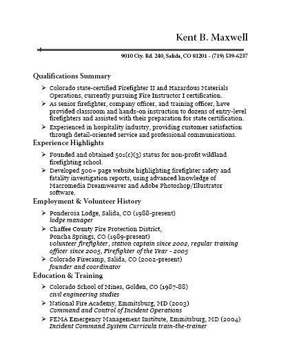 Wildland Firefighter Resume Examples Colorado Firecamp Fire Instructor I